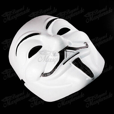 V for Vendetta Anonymous Guy Fawkes Rave EDC Halloween Masquerade Mask [White] - Halloween Mask Vendetta