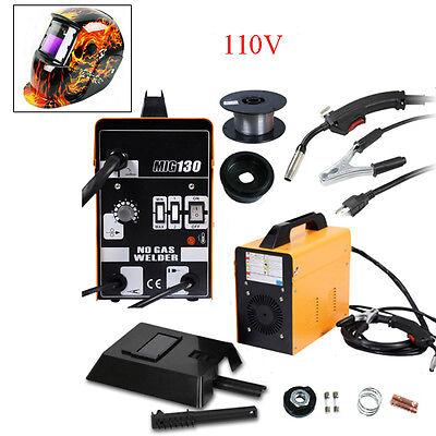 Mig 130 Electric Welder Welding Machine Weld Kit 110v With Helmet Wire Mask New