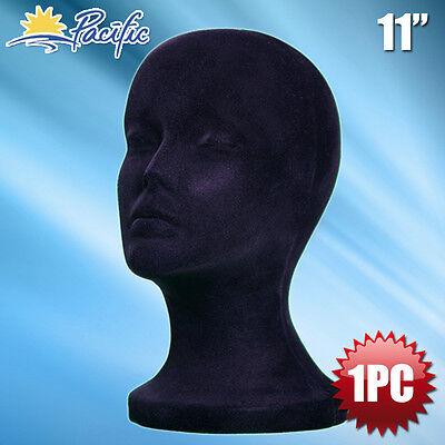 """11"""" STYROFOAM FOAM black velvet MANNEQUIN MANIKIN head display wig hat glasses"""