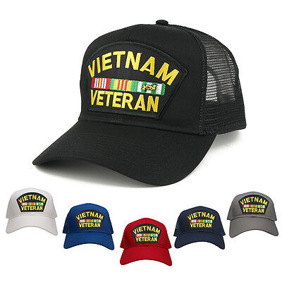- Military Vietnam Veteran Large Embroidered Patch Adjustable Mesh Trucker Cap