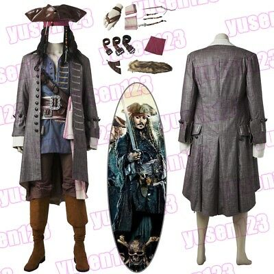 Pirates of the Caribbean 5 Captain Jack Sparrow Halloween Cosplay Costume Full - Jack Sparrow Full Costume