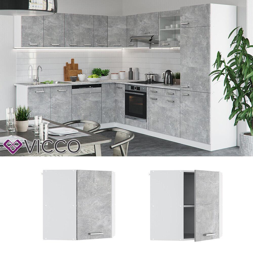 VICCO Küchenschrank Hängeschrank Unterschrank Küchenzeile R-Line Eckhängeschrank 57 cm beton