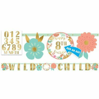 BOHO Girl Happy Birthday BANNER Party Wall Decoration PERSONALIZE AGE WILD CHILD](Boho Birthday Party)
