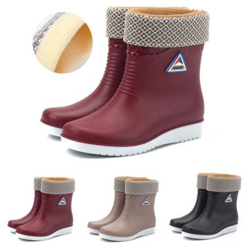 Womens Warm Fur Lined Wellies Wellingtons Waterproof Boots R