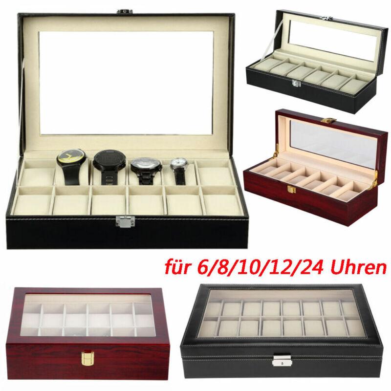 Uhrenbox Uhrenkoffer für 6/10/12/24 Uhren Uhrentruhe Uhrenkasten Uhrenschatulle