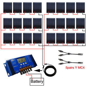 2KW 24V Off Grid Mono Solar System 90W Solar Panel W/ 60A LCD Battery Controller