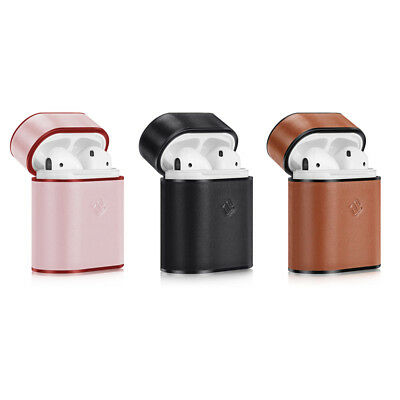 For Apple AirPods Charging Case Genuine Leather Coated Hard Portable Cover Skin