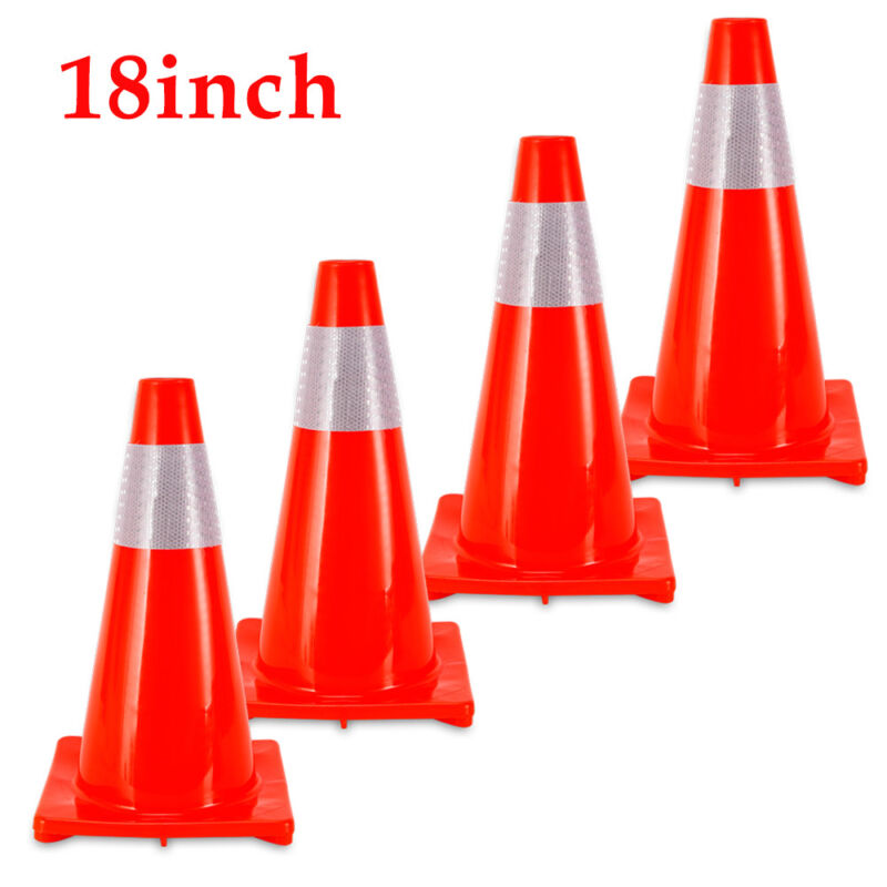 4-PACK 18-inch Traffic Safety Parking Cones PVC with Reflective Caution Strips