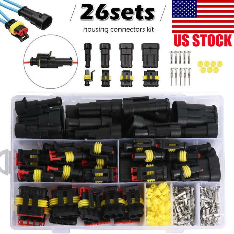 26 Set Car Waterproof Male Female 1-4Pin Way Electrical Connector Plug Wire Kit