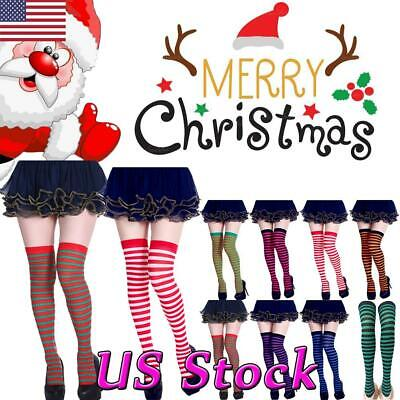 Halloween Socks Women (Women Striped Thigh High Socks Sheer Over The Knee Stockings Halloween)