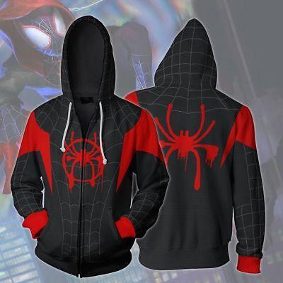 Spiderman Costums (Miles Morales Into Spider-man Hoodies Coat  Spiderman Sweatshirt Cosplay)