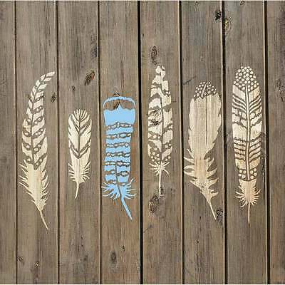 Feathers 6 Piece Stencil Kit - Reusable Stencils for DIY Craft Projects (Stencil Kit)