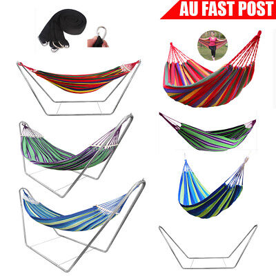 Outdoor Double Hammock Bed Steel Frame Stand Swing Strong Hanging Tree Strap
