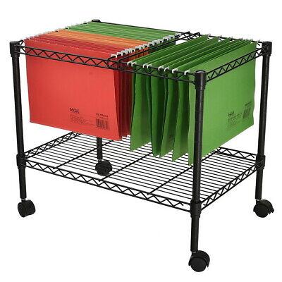 Single Tier Rolling File Lightweight Cart 23-35l X 12-35d X 18h Black