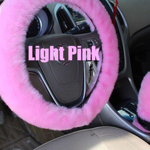 3PCsSet Long Plush Warm Steering Wheel Cover Woolen Handbrake Car Accessory