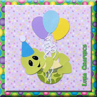Party Pals TURTLE WITH BALLOONS  Embellishment card toppers and scrapbooking