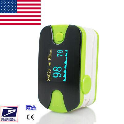 Pulse Oximeter Blood Oxygen Spo2 Meter Oximetery Spo2 Monitor W Alarm Green Oled