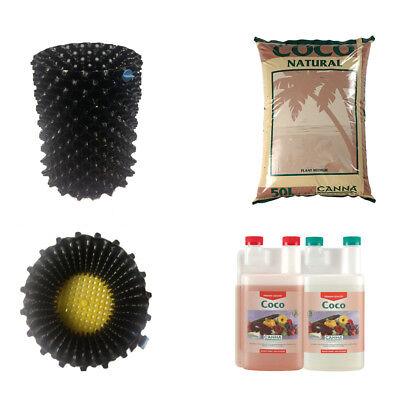 Canna Coco Natural 50L + Coco A+B 1L + 5 x 10L Airpots Hydroponics