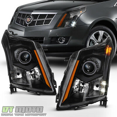 Left+Right 2010-2016 Cadillac SRX Halogen Headlights Black Headlamps Replacement