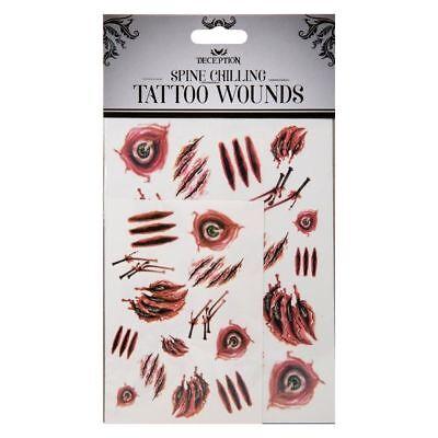 Fake Halloween Tattoos Horror Make-up Stitches Cuts Scars Burns Blood Costume](Halloween Fake Burns)