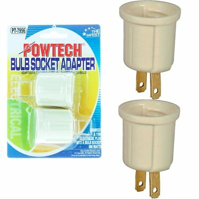 (2 Pc Light Bulb Socket Adaptor Converter Screw Lamp Base AC Wall Outlet Plug !)
