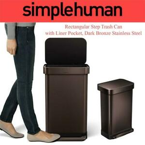 NEW simplehuman Rectangular Step Trash Can with Liner Pocket, Dark Bronze Stainless Steel, 45 L / 11.9 Gallon Condtio...