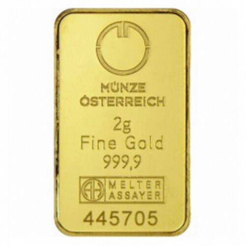 Munze Osterreich Austrian 2g GRAM 999 GOLD Bulion Bar Melter Assayer Investment