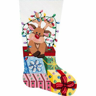 Alice Peterson Deluxe Large Needlepoint Stocking Kit - Gift-Wrapped Reindeer - Large Stocking