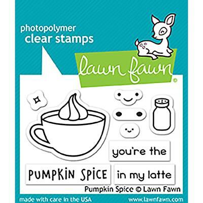 (Scrapbooking Crafts Lawn Fawn Clear Stamp Set Pumpkin Spice Latte Coffe Cup Face)