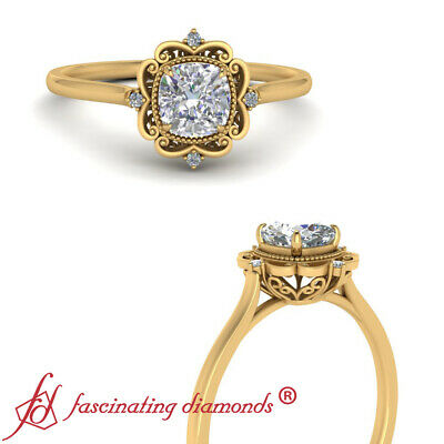 1/2 Carat Cushion Cut Diamond Filigree Halo Engagement Ring In 18K Yellow Gold