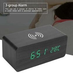 Wooden Digital Electronic LED Desk Alarm Clock Qi Wireless Charge Sound Control