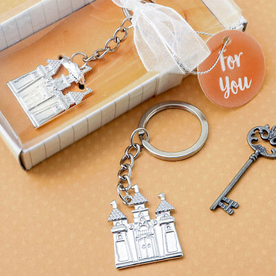 36-144 Silver Castle Key Chain - Fairy Tale Themed Wedding Shower Party Favors