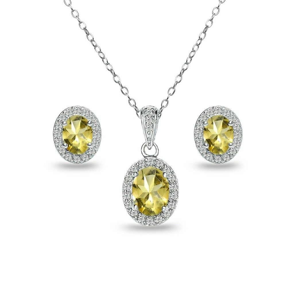 Oval Halo Citrine & White Topaz Necklace & Stud Earrings Set in Sterling Silver