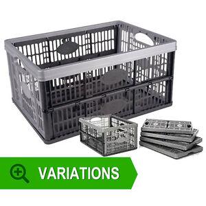 FOLD-ABLE-STORAGE-BOX-CRATES-BASKET-32-LITRE-PLASTIC-FOLDING-SET