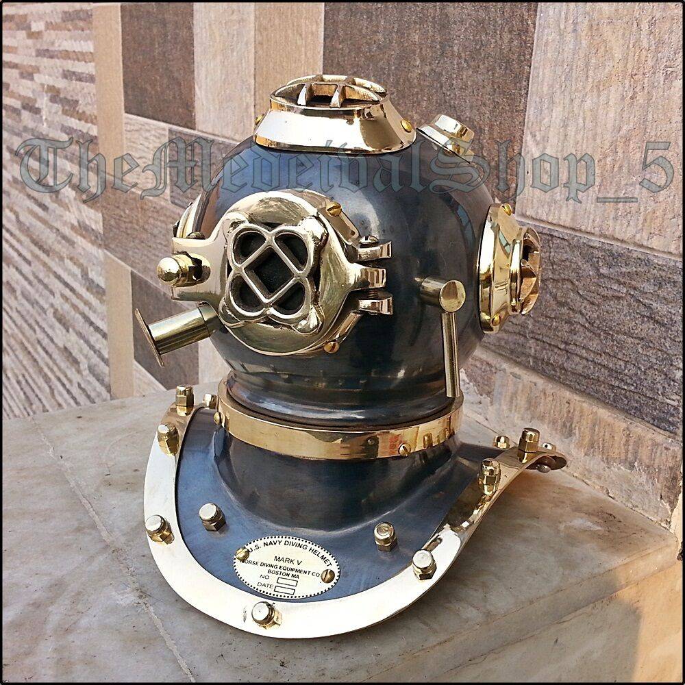 Imported From Abroad Antique U.s Navy Mark V Full Size 18 Inch Diving Divers Helmet Solid Steel Item Maritime Diving Helmets