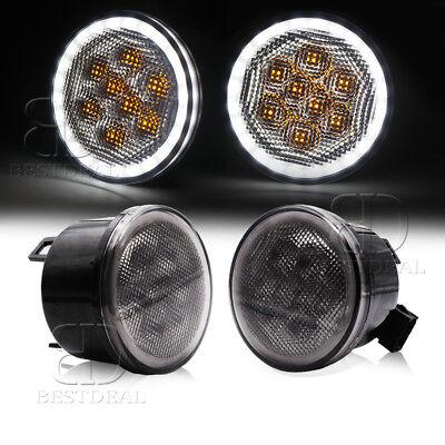 BestDeal LED Turn Signal Light Smoke Lens Halo Angel Eyes Lamp for Jeep JK TJ LJ](Angel With A Halo)