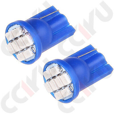 2 x T10 Wedge License Plate Frame Tag Blue 8 SMD LED Light Bulb 168 194 2825