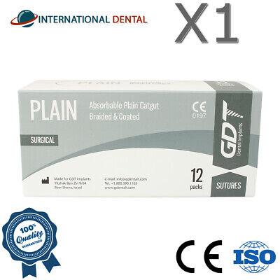 Gdt Monofilament Plain Catgut Surgical Sutures 75cm Absorbable 12pcsbox