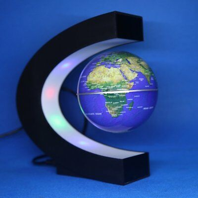 C shape Magnetic Levitation Floating Globe LED Light World Map Decor Fashion OY