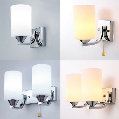 Modern Glass Wall Light LED Sconce Lighting Lamp Fixture Bedroom Home Decor E14
