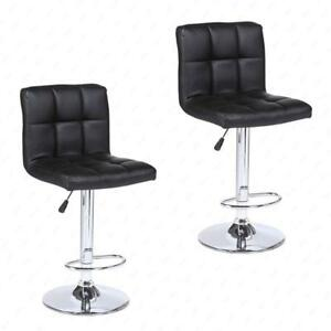NEW (2) BAR STOOLS LEATHER ADJUSTABLE SWIVEL PUB CHAIR BSC06 BAR SEATS LOT OF 2 AS LOW AS $89.95