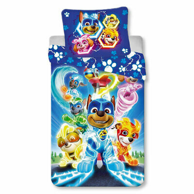 PAW Patrol - Mighty Pups - Kinder Bettwäsche-Set 100% Baumwolle 140 x 200 cm