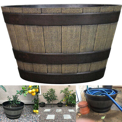 Resin Whiskey Barrel Flower Pot Round Planter Indoor Outdoor Garden Patio Yard (Indoor Flower Pots)