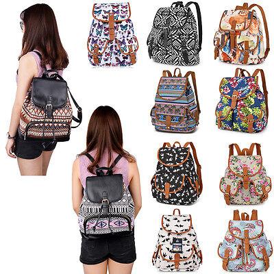 Womens Canvas Satchel Shoulder Backpack School Rucksack Bags Travel Fashion New