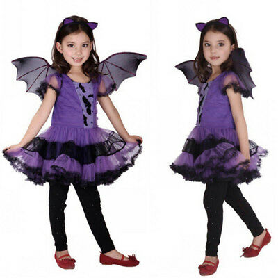 Kids Halloween Clothes Girls Baby Costume Fancy Dress Hair Hoop Bat Wing Outfit