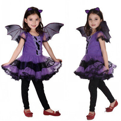 Kids Halloween Clothes Girls Baby Costume Fancy Dress Hair Hoop Bat Wing - Childrens Bat Costume