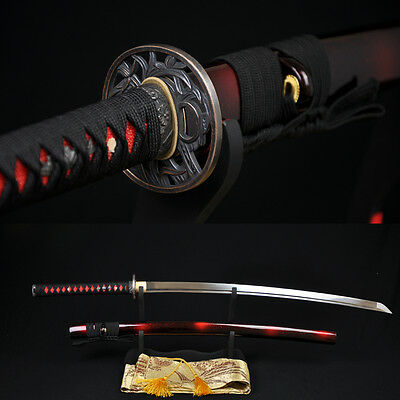 Japanese Samurai Sword KATANA 1060High Carbon Steel Full Tang Blade Can Cut Tree