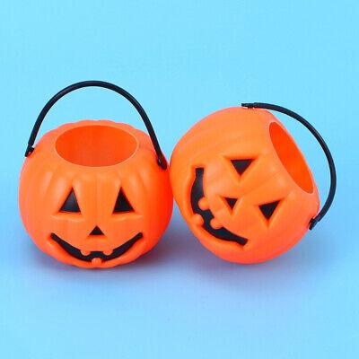 8pcs Pumpkin Bucket Portable Trick or Treat Candy Holder Desktop Candlestick