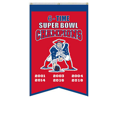 New England Patriots 6 Time Super Bowl Champions Banner Flag 30