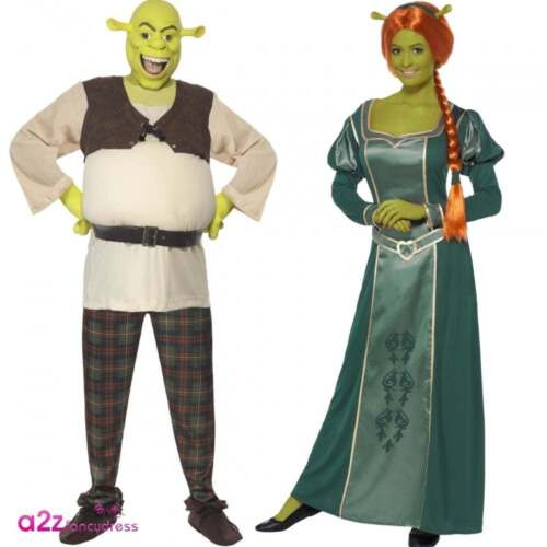 Shrek Or Fiona Costume Ogre Movie Licensed Adult Couples Fancy Dress Outfit  sc 1 st  eBay : shrek and fiona halloween costumes  - Germanpascual.Com
